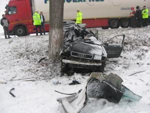 Autoturismul Audi aproape s-a încolăcit în jurul copacului de care s-a izbit
