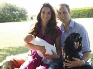 Primul portret oficial al cuplului regal britanic împreună cu bebeluşul George