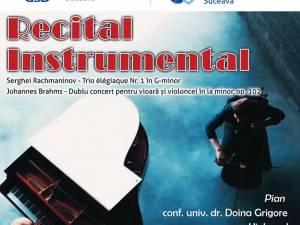 Recital instrumental, marți, pe scena Universității din Suceava