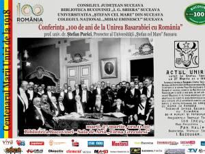 """Conferinţa """"100 de ani de la Unirea Basarabiei cu România"""", la Biblioteca Bucovinei"""