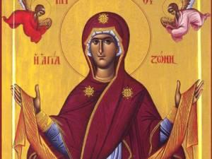 Aşezarea cinstitului Brâu al Maicii Domnului în raclă