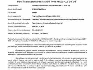 Inovarea si diversificarea activitatii firmei KROLL PLUS SRL