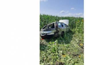 Mașina în care erau cei patru copii. Sursa foto Ziarul Evenimentul