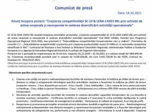 """Anunț începere proiect: """"Creşterea competitivităţii SC LD & LENA CAKES SRL prin achiziții de  active corporale şi necorporale în vederea diversificării activităţii operaționale"""""""